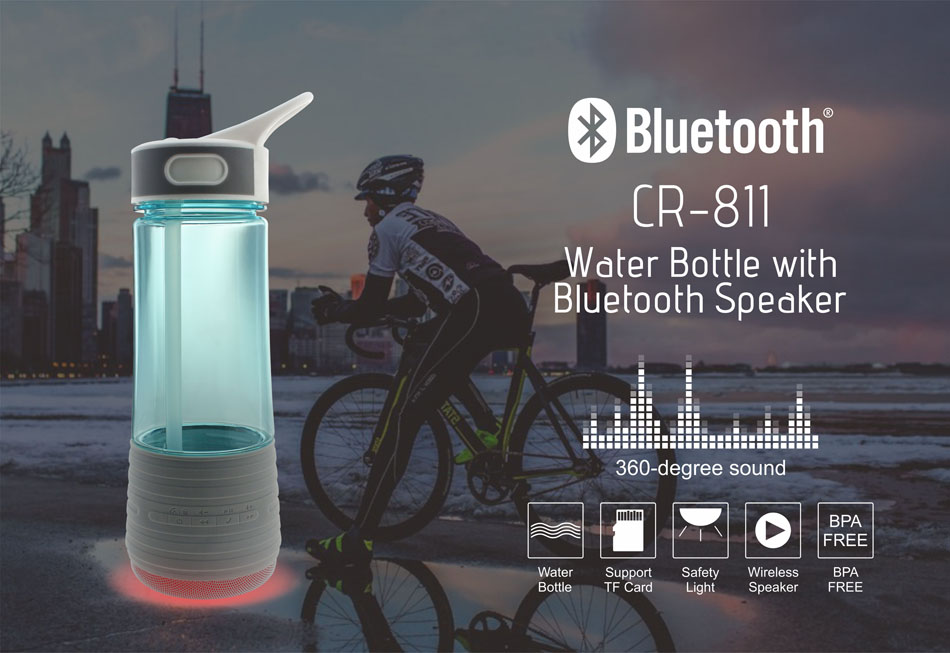 CR-811 Water Bottle with Bluetooth Speaker